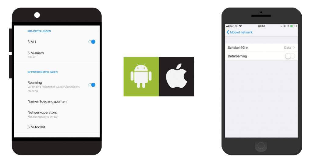 hoe zet je roaming uit op android en iphone?